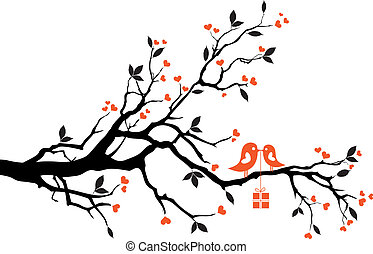 love birds with gift box, sitting on a tree, vector background