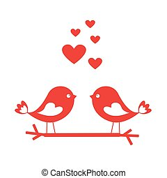 Love birds with red hearts - card for Valentine's day