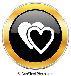 Love black web icon with golden border isolated on white background. Round glossy button.