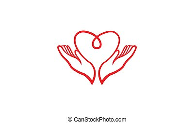 Love blood and hands up for care logo design