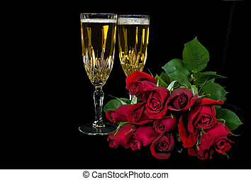 Love Blooms - Rose bouquet with champagne flutes on black.