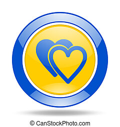 love blue and yellow web glossy round icon