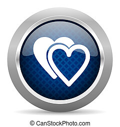 love blue circle glossy web icon on white background, round button for internet and mobile app