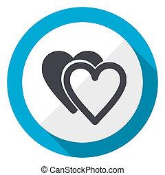 Love blue flat design web icon