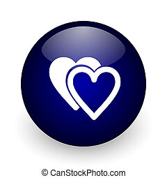Love blue glossy ball web icon on white background. Round 3d render button.