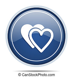 Love blue round web icon. Circle isolated internet button for webdesign and smartphone applications.