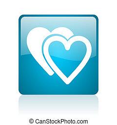 love blue square web glossy icon