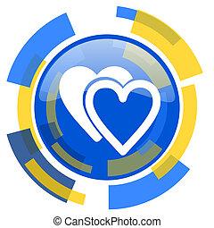 love blue yellow glossy web icon