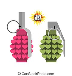 Love bomb. Hand grenade from hearts. Pink military...