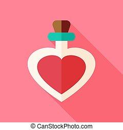 Love bottle with heart shape