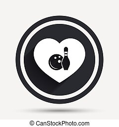 Love Bowling game icon. Ball with pin skittle.