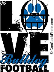 love bulldog football team design with helmet and paw print...