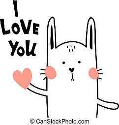 love bunny - vector card, i love you lettering text, cute...