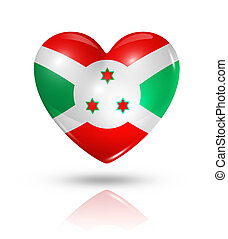 Love Burundi, heart flag icon