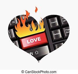 Love Button in Keyboard Vector