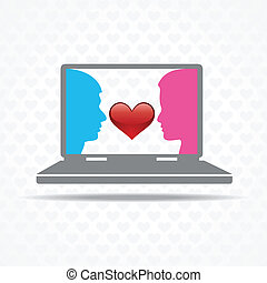 Love by technology concept
