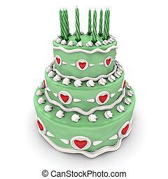 Love cake in green - 3D rendering of a impressive green...