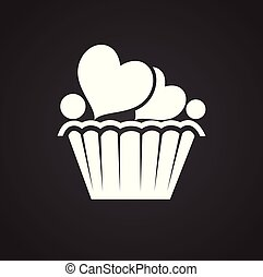 Love cake with hearts on black background