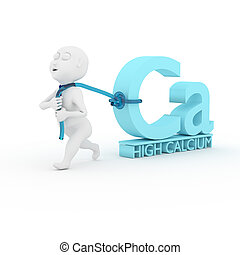 Love calcium. - 3d kids are dragging calcium in white.