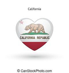 Love California state symbol. Heart flag icon.