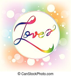 Love Calligraphy Word Watercolor