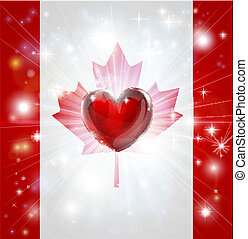 Love Canada flag heart background