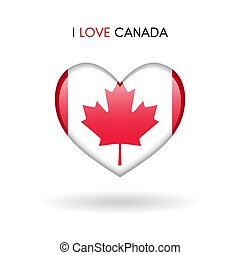 Love Canada symbol. Flag Heart Glossy icon