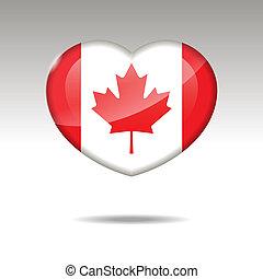 Love CANADA symbol. Heart flag icon.