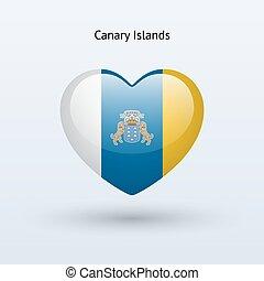 Love Canary Islands symbol. Heart flag icon. Vector...