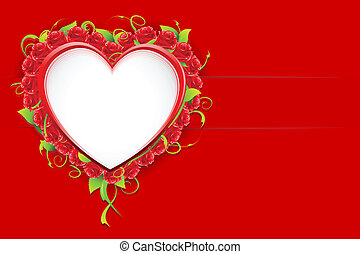 Love Card - illustration of red rose heart on love card
