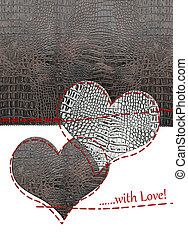 Love card of leather hearts