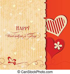 Love card, retro Valentines design with hearts