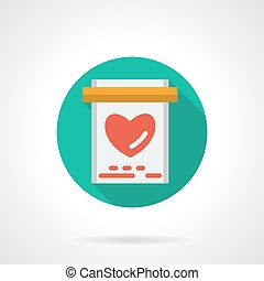 Love card round flat color vector icon