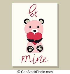 Love card vector illustration with cute bear