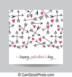 Love Card with Arrows - Wedding, Valentine's Day, Invitation - in vector
