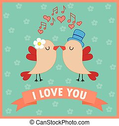 Love card with birds in love