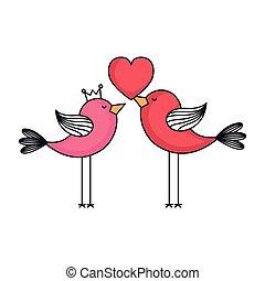 love card with cute birds couple