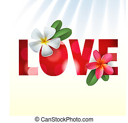 Love card with Frangipani flowers