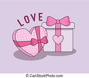 love card with gift heart shape