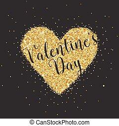 Love Card with Golden Glitter Heart - Wedding, Valentine's Day, Invitation - in vector