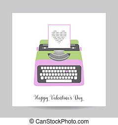Love Card with Typewriter - Wedding, Valentine's Day, Invitation - in vector