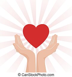 Love care Icon. Two hands with red heart and red rays on white background. Vector illustration