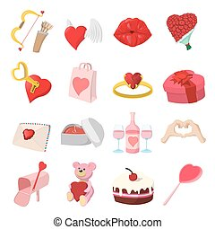 Love cartoon icons set