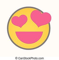 Love - Cartoon Smiley Vector Face