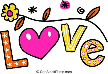 Love Cartoon Text Clipart - Hand drawn and colored whimsical...