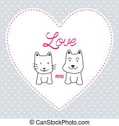 Love cat and dog card4