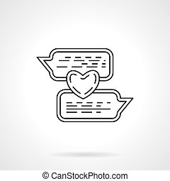 Love chat flat line vector icon