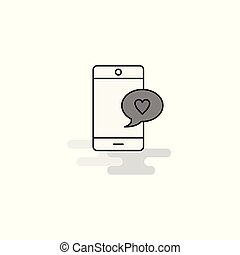 Love chat Web Icon. Flat Line Filled Gray Icon Vector