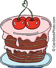 Love cherry cake - Scalable vectorial image representing a...