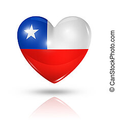 Love Chile symbol. 3D heart flag icon isolated on white with clipping path